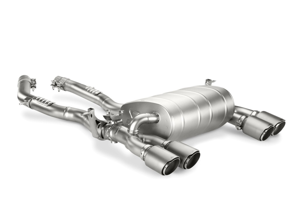 Evolution Line (Slip-on + link pipe), Titanium with Titanium tailpipe. Manufacturer product no.: M-BM/T/8H + E-BM/T/3 + TP-T/S/8