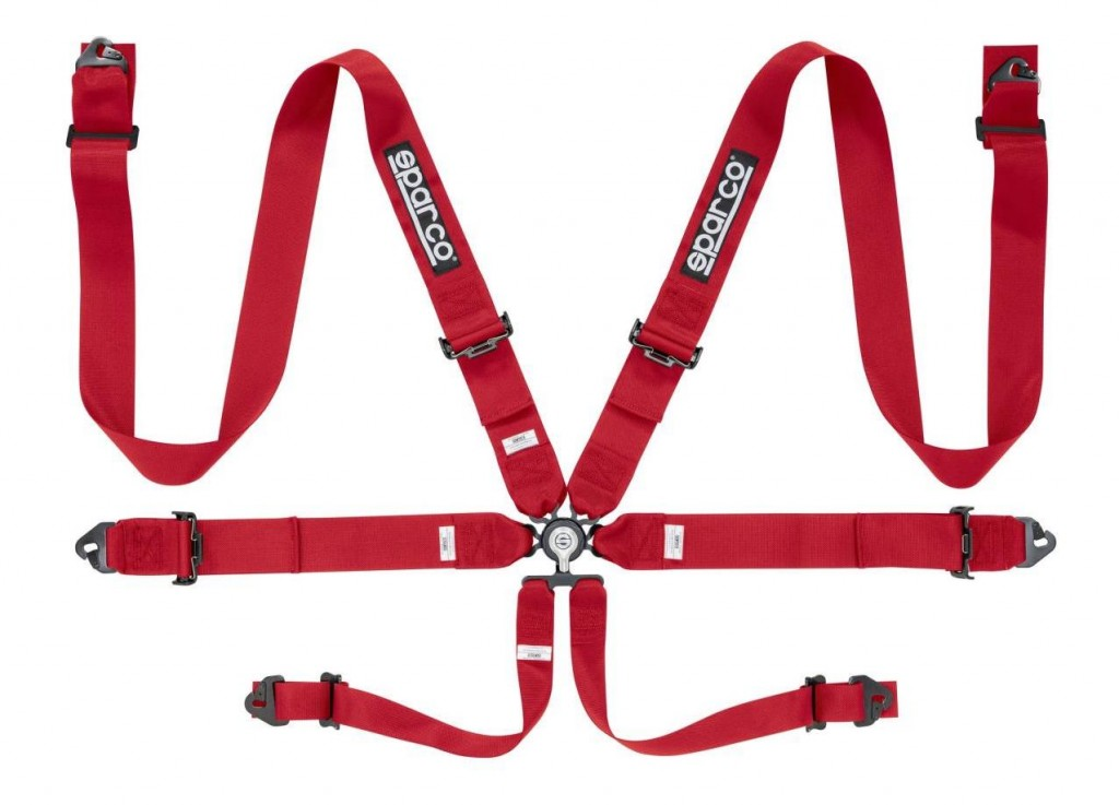 "Sparco 6 Point Harness 3"" Red. Manufacturer product no.: 04818RACRS"