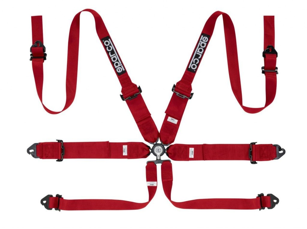 "Sparco 6 Point Harness 3""/2"" Red"